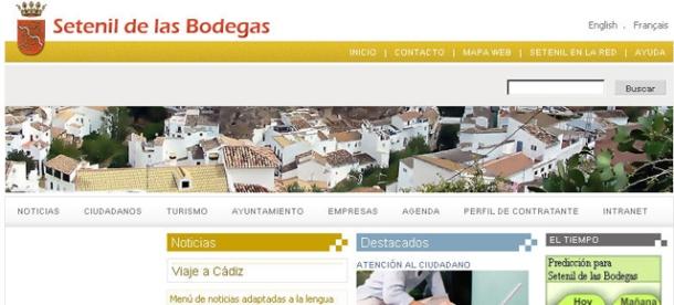 Imagen de la inactiva web del Ayuntamiento de Setenil