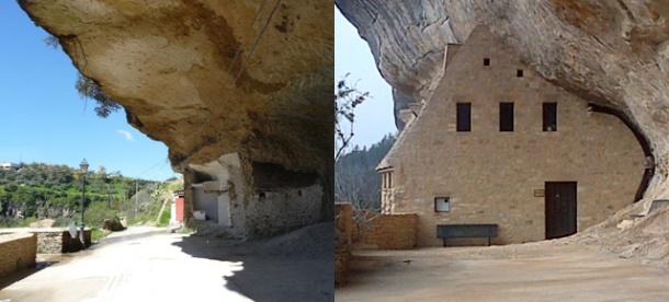 """A la izquierda, una casa-cueva vacía en Las Cabrerizas. A la derecha, el Museo Nacional de la Prehistoria del Perigord Negro, montado en una espacio simétrico de lo que en Setenil es un gallinero. Museo Nacional de la Prehistoria, en Les Eyzies (Aquitania). Foto: J.M.M.P. Más información en """"El Setenil de Francia"""" http://bit.ly/1AnJb5C"""
