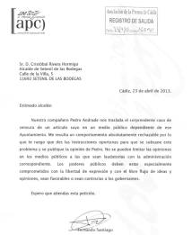 Carta de la Asociación de la Prensa de Cádiz al alcalde de Setenil