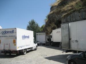 Amplio despliegue técnico en Las Cuevas para el rodaje. Foto: RAFAEL VARGAS VILLALÓN.