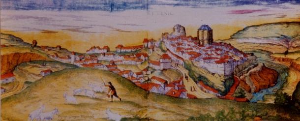 """Setenil aparece en un dibujo histórico realizado en 1.564 por Georgius Hoefnagle, que se publicó en 1581 en Colonia en el tercer volumen del monumental ''Civitates Orbis Terrarum' (""""Ciudades más importantes del Mundo""""), el primer atlas del mundo moderno."""