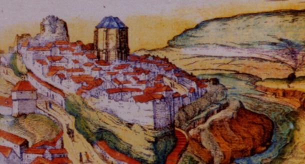 """Vista de Setenil de 1564 recogida en el """"Civitates Orbis Terrarum"""" (Colonia, 1575). La Iglesia debía llevar construída ya alguna década."""