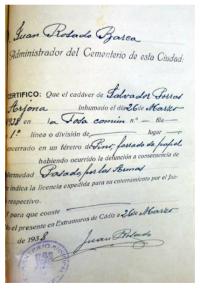 Salvador Porras Arjona. Fusilado y enterrado en la fosa del cementerio de San José de Cádiz.