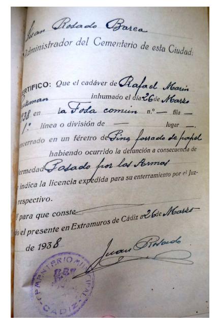 Rafael Marín Guzmán. Fusilado y enterrado en la fosa del cementerio de San José de Cádiz.