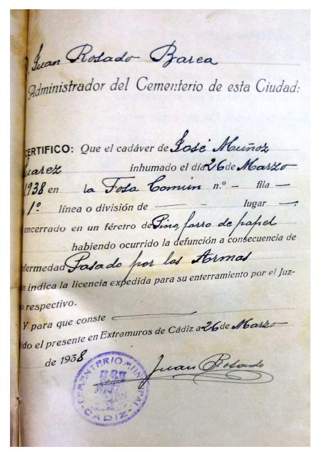 José Muñoz Suárez. Fusilado y enterrado en la fosa del cementerio de San José de Cádiz.