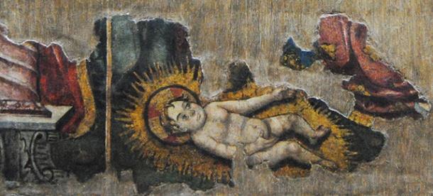 Detalle del nacimiento de Jesús en el Retablo de la Anunciación, que se puede ver provisionalmente en la ermita del Carmen. Foto: ÁNGEL MEDINA LAÍN
