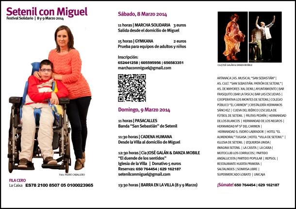 """Programa de actividades del Festival Solidario """"Setenil con Miguel"""", el 8 y 9 de marzo"""
