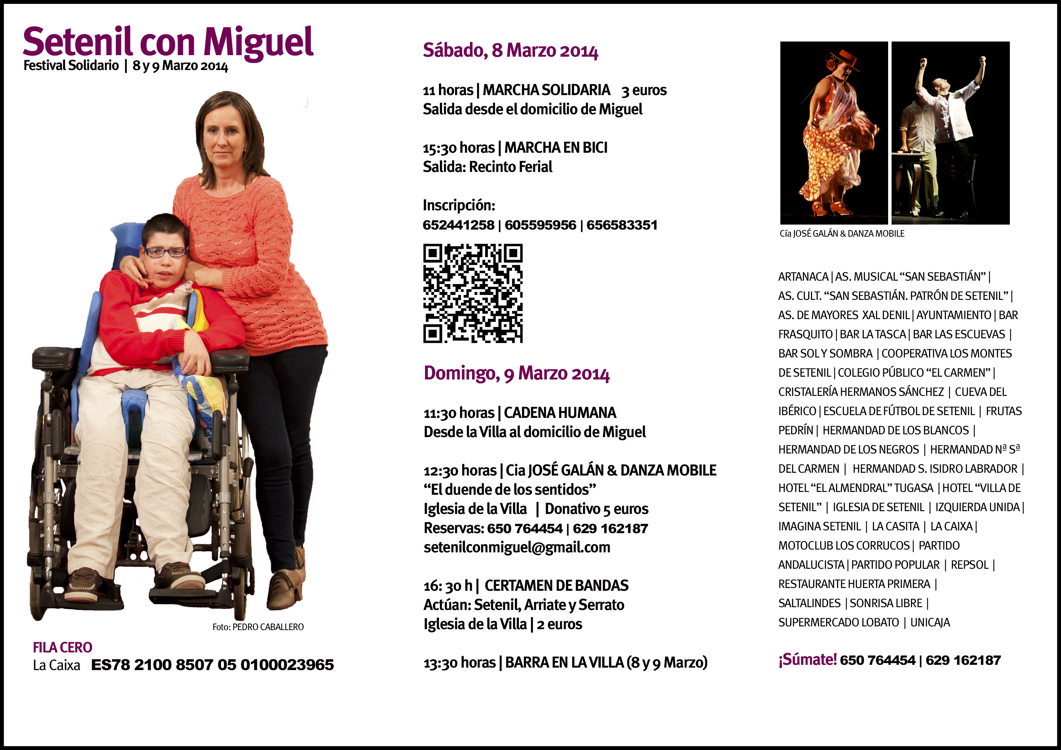 """Programa definitivo de las actividades del Festival Solidario """"Setenil con Miguel"""", el 8 y 9 de marzo"""