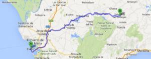 Recomendación de Google Maps para ir en coche de Cádiz a Setenil