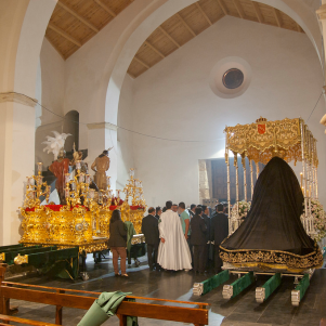 """Vista desde el interior de la recuperada """"iglesia mudéjar"""", con los tronos del Jueves Santo recogidos. Foto: MARIO GARCÍA VARGAS"""