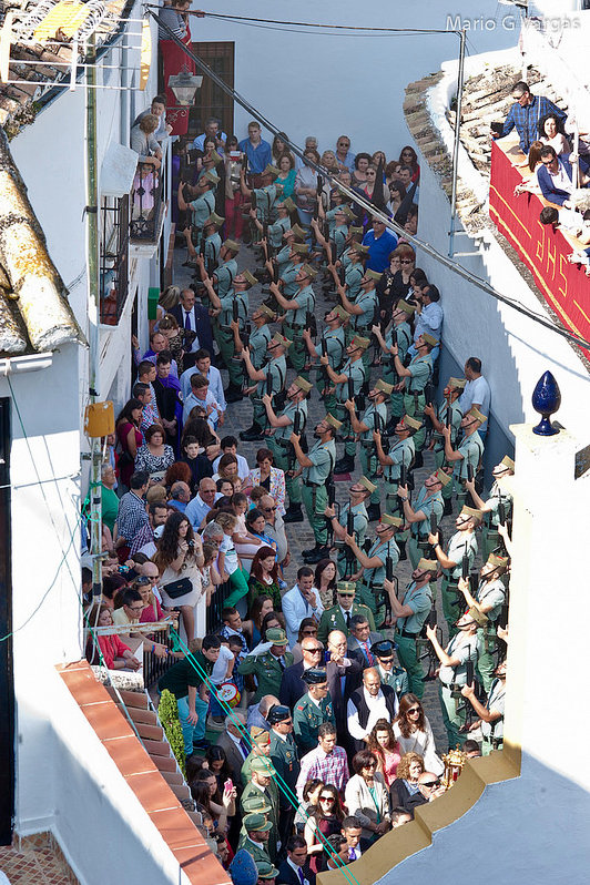 La Legión, en apretada formación en la plaza de San Benito. Foto: MARIO GARCÍA VARGAS