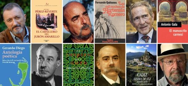 De izquierda a derecha, Arturo Pérez Reverte, Fernando Quiñones, Antonio Gala (arriba), Gerardo Diego, Emilio Castelar y Caballero Bonald, junto a las portadas de sus libros.