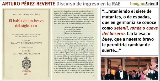Portada del discurso de ingreso en la Academia, el folio en el que aparece la cita y una imagen de Pérez Reverte en la Academia.