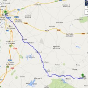 Recomendación de Google Maps para ir en coche de Sevilla a Setenil