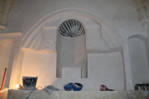 El altar de la ermita, durante las obras ya casi finalizadas en julio de 2014. Foto. RAMÓN VÁZQUEZ