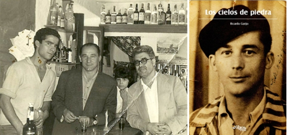 """Eulogio Garijo, superviviente del campo nazi de Mauthausen, se casó con la setenileña Maruja Andrades. En la imagen aparece en medio de Pedrín (sobrino de su mujer) y su cuñado Juan Andrades, en una fotografía tomada en el bar que tenía mi padre en la Plaza. Fue durante el primer viaje que hizo a nuestro pueblo, en 1960, quince años después de sobrevivir al infierno nazi. Volvería en la década de los '80. A la derecha, portada del libro """"Los cielos de piedra"""", escrito por su hijo Ricardo Garijo, y editado por Libros en Red. Más información en este enlace http://bit.ly/1qByceZ"""