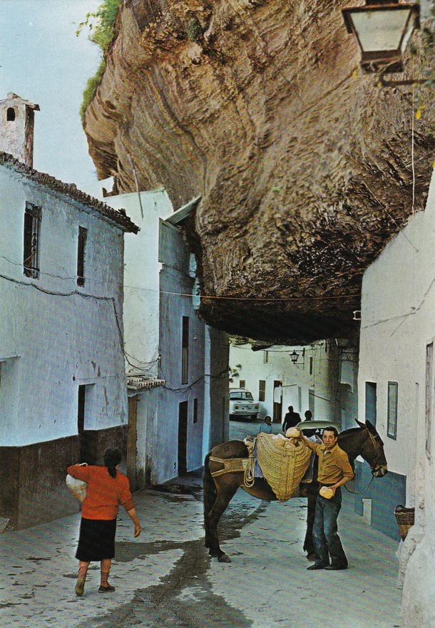 SERONES EN LAS CALLES. En esta postal de 1977 vemos a Frasco repartiendo el pan en las Cuevas de La Sombra, frente al horno de Gonzalo. Hasta los primeros años ochenta era habitual ver mulos por las calles. El último de los repartidores quizá fuera Rafael el de la Granja, cargado con sus cántaros de leche. Lo que no cambia es la alucinante cubierta de roca, que hace de esta calle una de las más singulares de España. El agua que chorrea proviene probablemente de la fuente que había al inicio de la calle Cantarería.