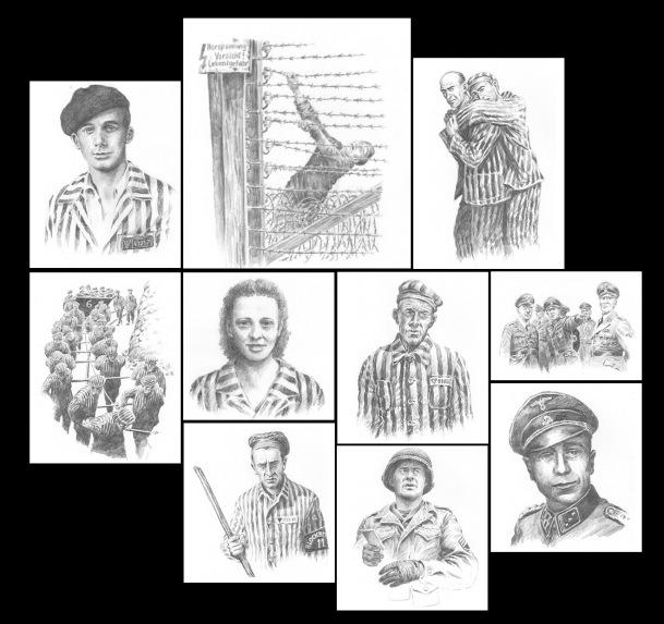 """Ilustraciones de Ricardo Garijo para la novela """"Los cielos de piedra"""". El primero de la parte superior es su padre, Eulogio Garijo. Los otros representan escenas de la terrible vida en el campo de exterminio y a algunos personajes de este relato basado en hechos reales."""