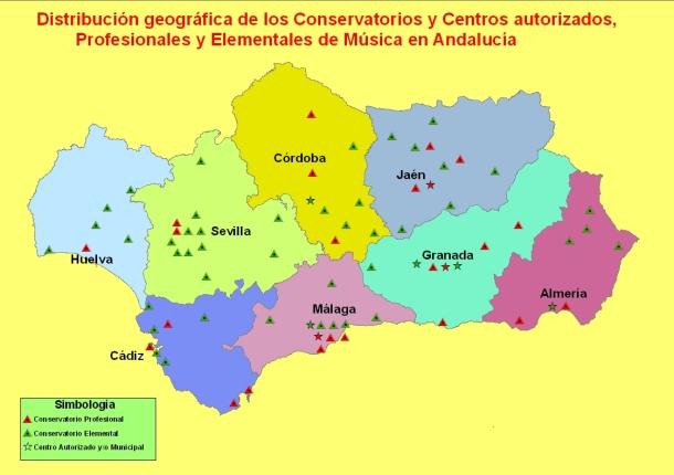 """Mapa de conservatorios de Andalucía. Fuente: AMPA """"Ramón Corrales""""."""