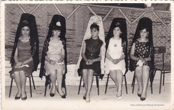 Las madrinas del evento: Isidora Valencia, Maruja Andrades, Francisca Aguilera Camacho, Cándida Marín Ortega y Maruja Villalón Tornay. Foto: JUMAN