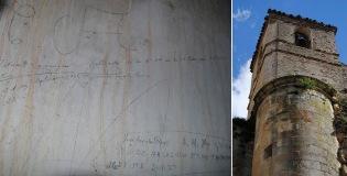 Un guardia de Arcos dejó estampada su firma en el campanario de la Iglesia de la Villa tras la toma militar de Setenil, en septiembre. Fotos: ANGEL MEDINA LAÍN.
