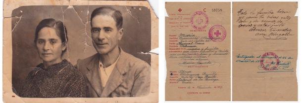 LA HUÍDA DE MÁLAGA. Fueron muchos los vecinos de Setenil que huyeron del pueblo por el temor a la represión que siguió al golpe militar y que luego vivieron uno de los momentos más terribles de la Guerra Civil: la huída de Málaga (febrero de 1937), en la que miles de civiles fueron bombardeados por buques de guerra en su camino hacia Almería. En la imagen vemos a María Camacho y Pedro Moreno (mis bisabuelos paternos), que se marcharon del pueblo. A la derecha, una carta con sello de la Cruz Roja dirigida por María Camacho en diciembre de 1937 a su madre, Ana Mingoya, que se quedó en Setenil junto a parte de la familia. Tiene remite de salida en Huércal-Overa (Almería). Tardó la friolera de cuatro meses en obtener respuesta, toda una eternidad en ese período dominado por la barbarie. Una de tantas familias rotas por la Guerra Civil. Sabemos de otros vecinos como José Ramos, que acabó en el exilio en Pau, la familia de Miguel Bermúdez, o Francisco Pérez Reina, miembro activo de la UGT, uvo que huir y estuvo en la Desbandá de la carretera Málaga-Almería con seis hijos pequeños, la mayor de 14 años (Maruja Pérez González).