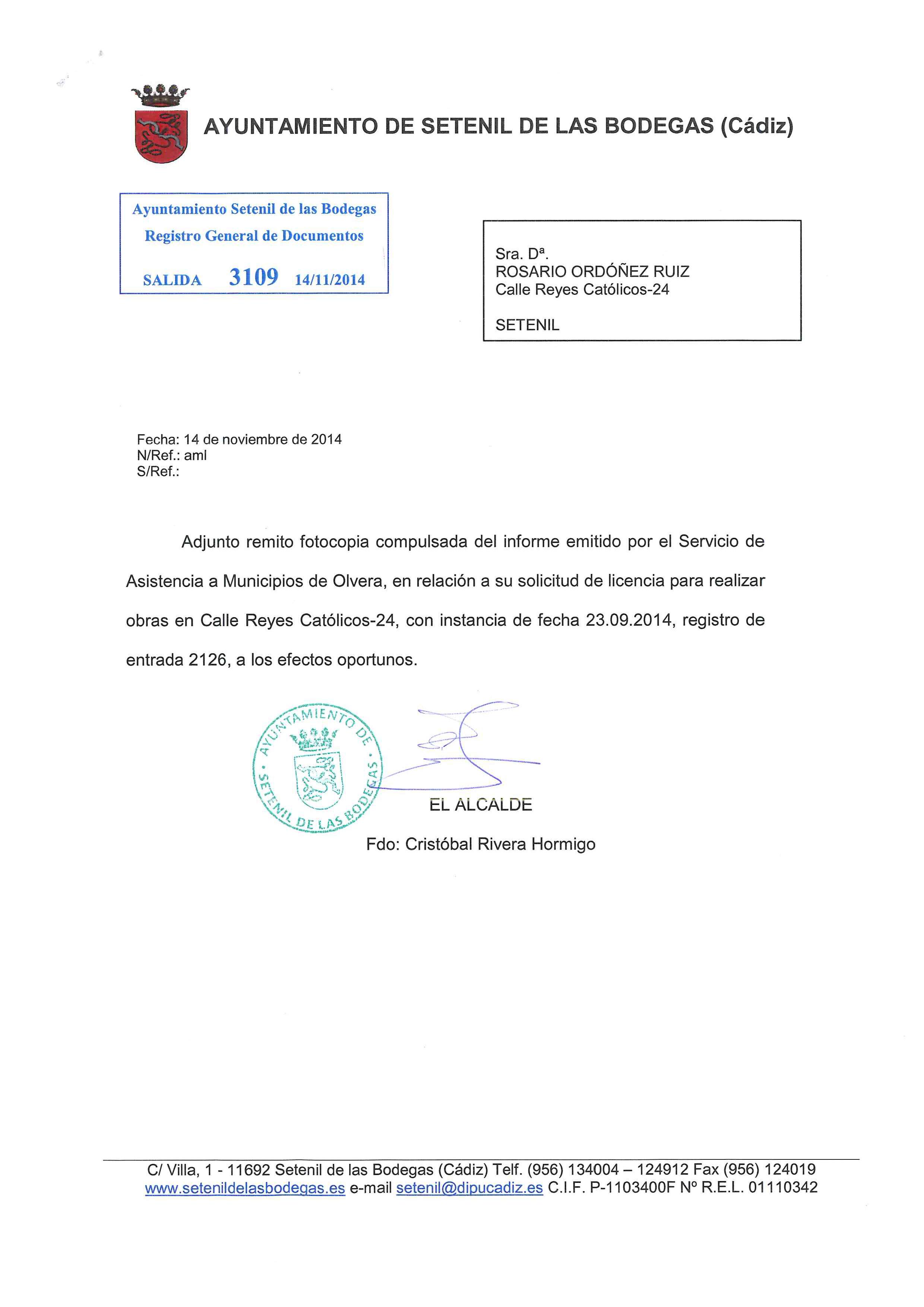 Carta del Ayuntamiento de Setenil a Rosario Ordóñez.