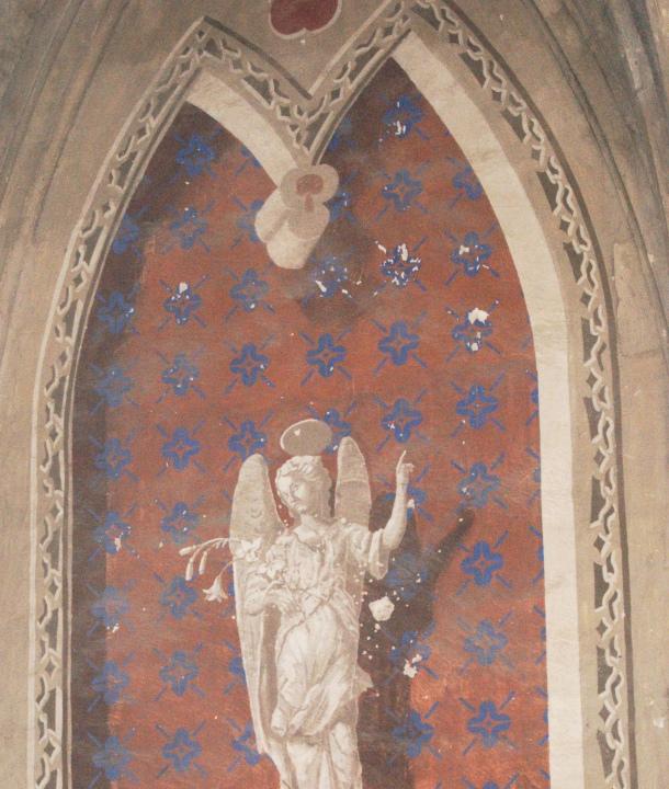 Detalle de los disparos en la Iglesia de la Villa, que ya no se pueden ver tras la última restauración realizada en la parroquia en 2013. Foto: ÁNGEL MEDINA LAÍN.