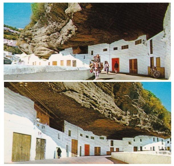 Detalles de las Cuevas del Sol en una postal de finales de los años '70.