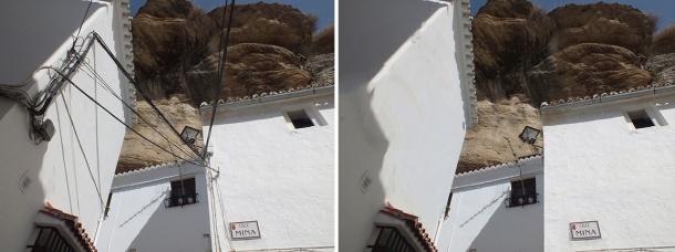 Comparativa del acceso a la Calle Herrería, una de las más bonitas de Andalucía, desde la calle Mina y una aproximación de cómo estaría sin cables.
