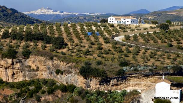 Una vista de Peñacaía y los escarpes del río Trejo con Olvera, sede principal de la Vía Verde, al fondo. Foto: TROTONES DE ARCOS. En su estupendo blog podéis ver más rutas del entorno de Setenil y, en general, de la provincia de Cádiz. http://pavostrotones.blogspot.com.es/