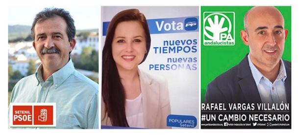 Los tres candidatos a las elecciones municipales de 2014 en Setenil: Cristóbal Rivera (PSOE), Pilar Martínez (PP), y Rafael Vargas (PA).