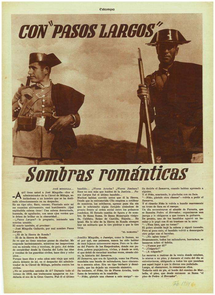 """La última entrevista a Pasos Largos. (""""La Estampa"""", 1934)."""