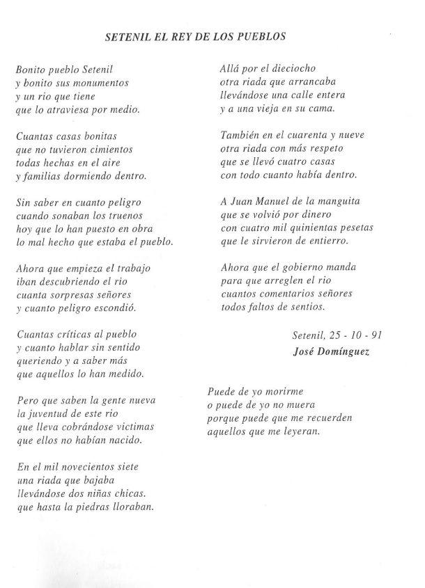 """Poema de José Domínguez """"Tijeras"""" que recuerda las riadas en Setenil."""