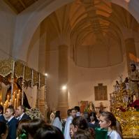 El Amarrao y la Virgen de los Dolores, en la recién restaurada Iglesia de la Encarnación. Foto: MARIO GARCÍA VARGAS.
