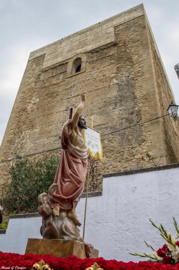 El Resucitado, a su paso por el Torreón en la salida de la Villa. Foto: MARIO GARCÍA VARGAS