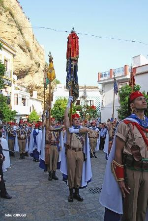 Los Regulares, una de las bandas militares más aclamadas, durante el tradicional desfile en la Plaza de Andalucía. Foto. RODOGO
