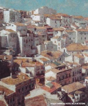El caserío blanco de Setenil (lienzo 46 x 38). Tsubata Yasuhi y también expuesta en Vitoria. Imagen cedida por Juan Gutiérrez, del Hotel Villa de Setenil http://www.setenil.com/