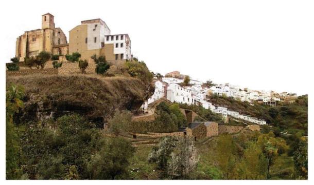 En esta imagen se aprecia en parte las diferencias con el proyecto de Martínez Lapeña & Elías Torres con el edificio construido por Granada Siglo XXI, más agresivo con el entorno y con un diseño devaluado respecto del original.