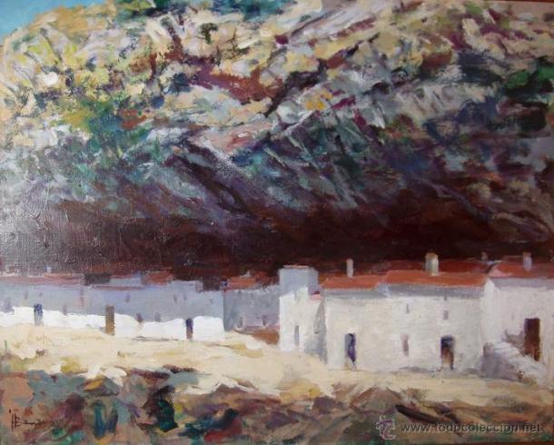 """Las Cabrerizas, pintadas por Juan Bandera Pérez (1917-1999). Esta obra aparecía en venta en el portal """"TodoColección"""" hasta hace escasas fechas."""
