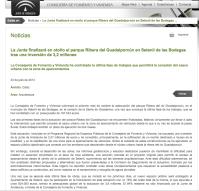 Nota de prensa de la Consejería de Fomento de la Junta de Andalucía. 23 de julio de 2013.