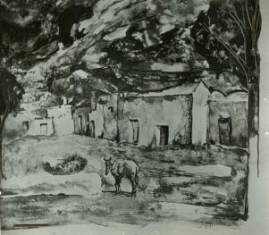 Grabado de Amalio García del Moral sobre Setenil. Su propietaria es una empresaria británica afincada en Isla Cristina. Imagen cedida por la Fundación Amalio.