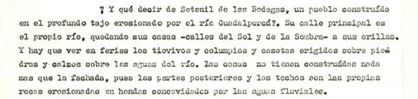"""Amalio se refiere a Setenil como """"uno de los pueblos insólitos de la sobrecogedora Andalucía"""". Así figura en su estudio del paisaje andaluz para la Fundación Juan March de Madrid."""