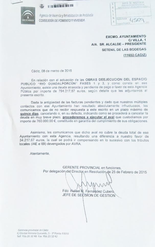 Reclamación de la Junta de Andalucía de una deuda pendiente de 794.000 euros al Ayuntamiento de Setenil.