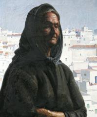 """El mundo de Esperanza plasma la Andalucía negra que tanto retrató Amalio. En esta serie, la vieja vendedora de lotería, gitana, será la modelo que más se repita. Esperanza calla y medita. """"Están. Son pobres gentes hechas a todas las miserias"""", escribe el propio Amalio de los gitanos."""