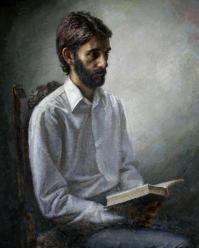 """El poeta Juan Manuel Vilches, retratado por Amalio cuando ya estaba enfermo. Era uno de los escritores del grupo """"El Gallo de vidrio"""". Amalio, además de pintor, era escritor."""