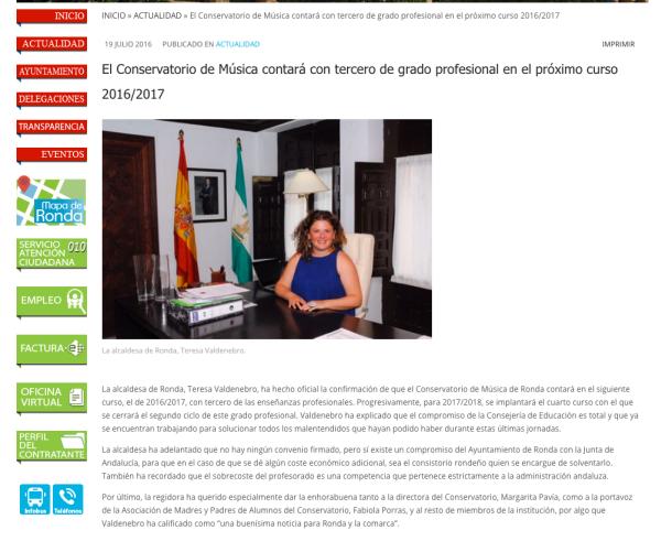 Anuncio oficial en la página web del Ayuntamiento de Ronda.