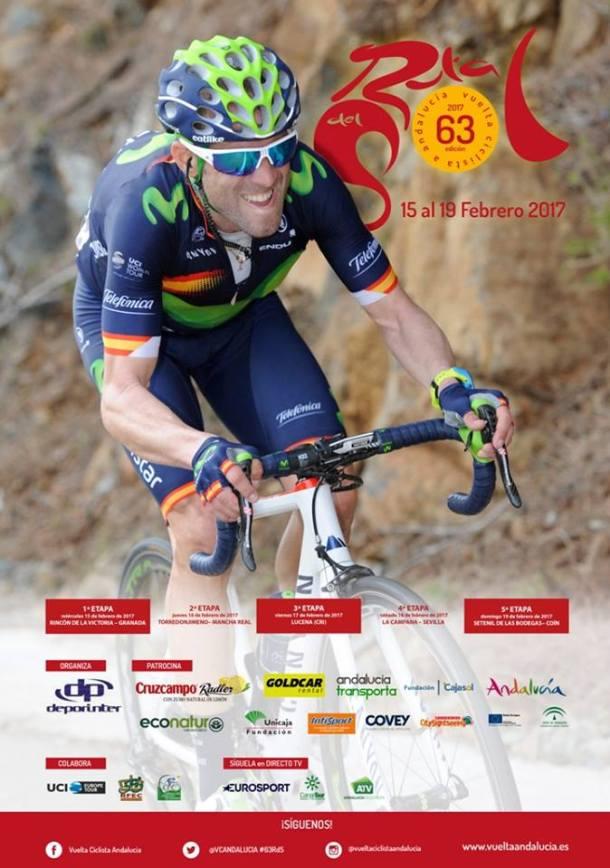 Alberto Contador y Alejandro Valverde encabezan el cartel de la 63ª Vuelta Ciclista a Andalucía 'Ruta del Sol'. Un total de 147 corredores de 21 equipos internacionales recorrerán las carreteras de la comunidad del 15 al 19 de febrero. La 63ª Vuelta Ciclista a Andalucía 'Ruta del Sol', que se celebrará del 15 al 19 de febrero, contará en la presente edición con una participación de lujo, con la presencia de destacadas figuras nacionales e internacionales. PINCHA AQUÍ PARA CONOCER TODA LA INFORMACIÓN ETAPA A ETAPA Y LA CLASIFICACIÓN