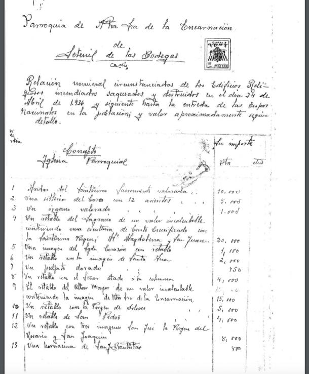 Relación de los daños causados en los templos de Setenil en la destrucción realizada por el párroco Jerónimo Troya, firmado firmado el 20 de agosto de 1939. Pagina 1. Gracias a Ramón Vázquez, párroco de Setenil.