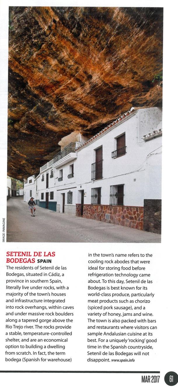 """Fotografía de Las Cabrerizas, uno de los sitios """"extraordinarios"""" recogidos en la revista de AirAsia. Esta es la traducción: """"""""Los residentes de Setenil de las bodegas, situado en Cádiz, en el sur de españa, viven literalmente debajo de las rocas, con la mayoría de las casas e infraestructuras integradas bajo voladizos de tajos, dentro de cuevas y debajo de rocas macizas a lo largo del cañón del río Trejo. Las rocas garantiza abrigo y una temperatura controlada, y son una opción económica para construir una vivienda desde cero.De hecho, el término 'bodega' en el nombre del pueblo se refiere al almacén de las casas refrigeradas por la roca, que eran ideales para guardaralimentos antes de la llegada de electrodomésticos. A día de hoy, Setenil de las Bodegas es especialmente conocido por sus productos de primera clase como el chorizo, y una variedad de miel, jamón y vino.Asimismo el pueblo está repleto de bares y restaurantes en los cuales el visitante puede degustar una muestra de la mejor cocina andaluza. Para pasar un buen rato de 'rocking', Setenil de las Bodegas no decepcionará""""."""